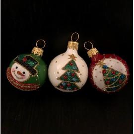 Set 3 sfere natalizie - Decorazione in vetro fatta a mano
